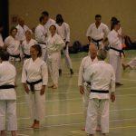 Bernard Widmer saluta Ono Senei prima dell'allenamento  alla festa dei 40 anni di Suisse Shotokan Karate (Winterthur - luglio 2017).