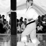 Tsutomu Ohshima, 70 years of age, demonstrates his favorite kata, Hangetsu,  during the August, 2000 grand opening of Shotokan Ohshima Dojo  in Santa Barbara, California.